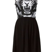 New Look Mobile | Cameo Rose Monochrome Tiger Print Sleeveless Dress
