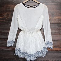gauzy embroidered romper - white