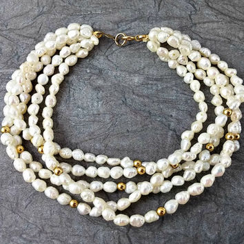 Vintage 14k Freshwater or Rice Pearl Bracelet Five Strands Gold Clasp and Accent Beads Lovely In Very Good Condition