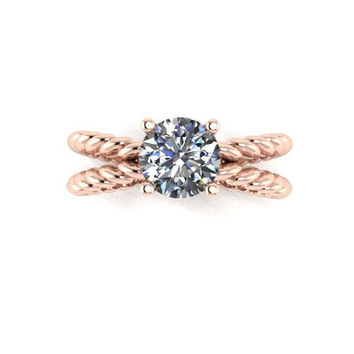 Engagement Ring, Moissanite Engagement Ring, Rose Gold, White Gold, Yellow Gold, Promise Ring Right Hand Ring RE00087