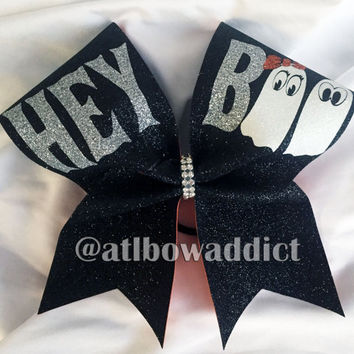 Hey Boo Halloween Cheer Bow