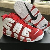 Supreme x Nike Air More Uptempo Big R Scottie Pippen White/Red Basketball Shoes
