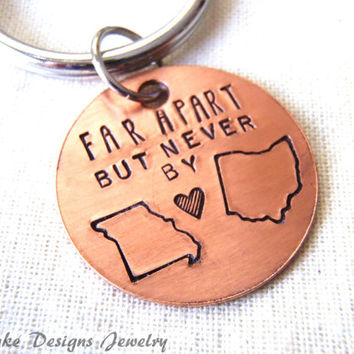 Long distance relationship Keychain state to state keychain personalized girlfriend boyfriend gift