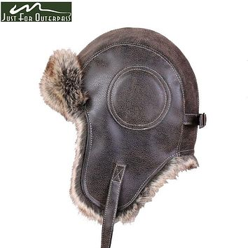 2017 New Winter Artificial Leather Hats Casual Men Women Windproof Warm Bomber Hats