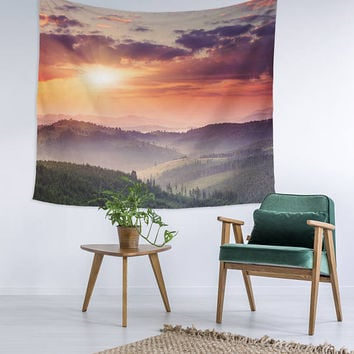 Dreamy Sunset Sky Modern Wall Art College Apartment Unique Dorm Room Decor Trendy Wall Tapestry