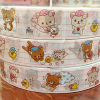 Rilakkuma bear deco tape stickers - In pajama DT415