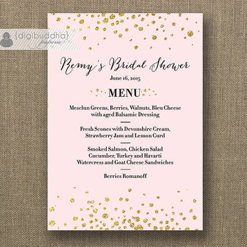 Blush Pink & Gold Menu with Gold Glitter Gatsby Wedding Menu Bridal Shower Hens Party Bold Modern Printable Digital or Printed - Remy Style