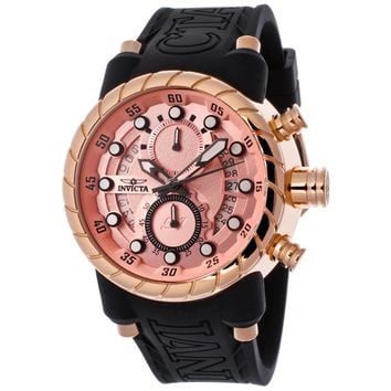 Invicta 14188 Men's S1 Rally Pink Dial Rose Gold Steel Black Rubber Strap Chronograph Watch