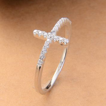 Trend Sideways Cross silver rings stamped 925 silver Fashion Jewelry crystal vintage style wedding ring for women religious