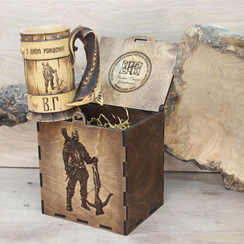 Personalized Wooden Beer Stein Mug Tankard Gift For Him Anniversary Birthday Wedding