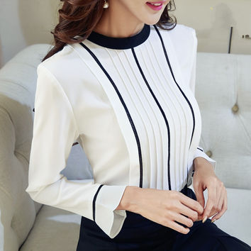 White Blouse Stand Collar Ruched Chiffon Shirt Flare Sleeve Tops For Women Spring A
