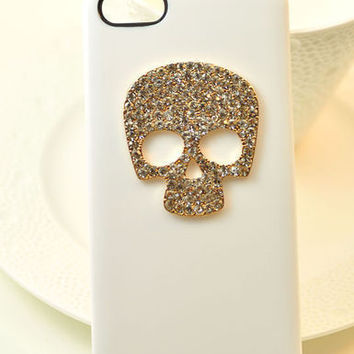 "Bling Crystal Skull Case Cover Apple iPhone 6 4.7"" WHT"