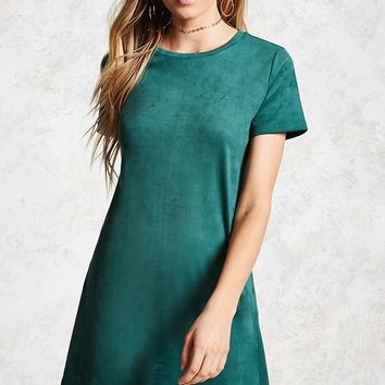 Faux Suede T-Shirt Dress