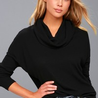 Friend of a Friend Black Cowl Neck Sweater Top