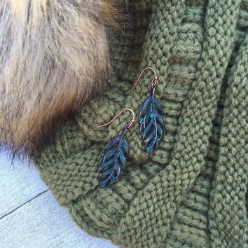 Copper Peacock Feather Earrings