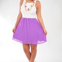 Simply Because Dress: White/Purple