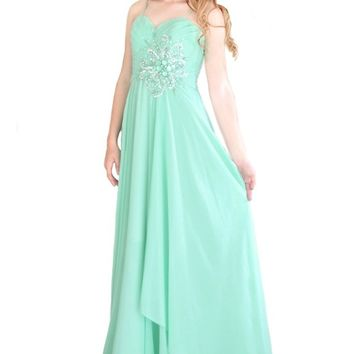 Miracle Agency Australian Designer Label Mint 5025 Georgette Pleated Bust w Embellishments Gown