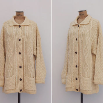 Fiona Wool Cardigan - 1970s Cable Knit Sweater - Cream Aran Irish Chunky Fishermans Sweater Jacket Size L