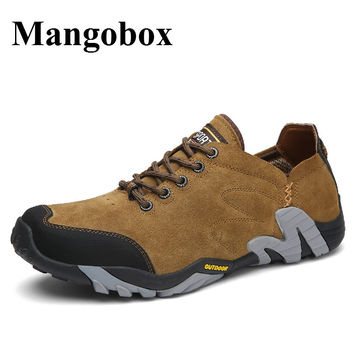 Hiking Trainers For Men Spring Summer Outdoor Walking Shoes Mens Brown Blue Mens Mountain Boots Anti-Slip Hiking Sneakers Men
