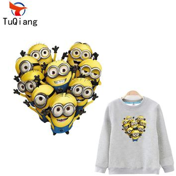 Yellow Minions love heart pattern Patches For Clothes Washable DIY Accessory Iron On Transfer Parches Para La Ropa 25*24CM