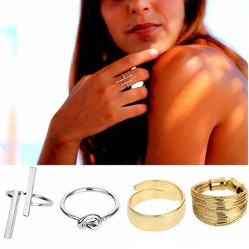 12 Styles Bar Ring Boho Copper Stacking Rings Love Knot Ring Stackable