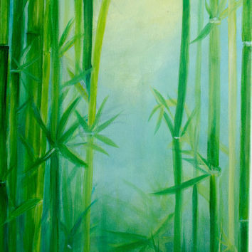 "Large Abstract painting canvas Art bamboo painting green and yellow wall decor 40X 16X1.5"" Long painting spring decor Large wall decor"