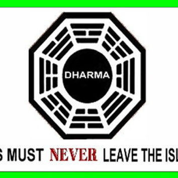 Official LOST TV show Dharma Warning Fridge Magnet big 2.5 X 3.5 inches