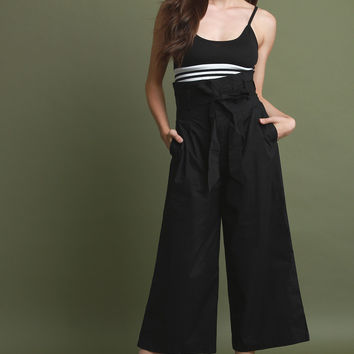 Box Pleated Belted Waist Palazzo Pants | UrbanOG