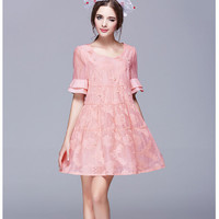 Floral Embroidery Embellished Flounced Sleeve Mesh Skater Dress