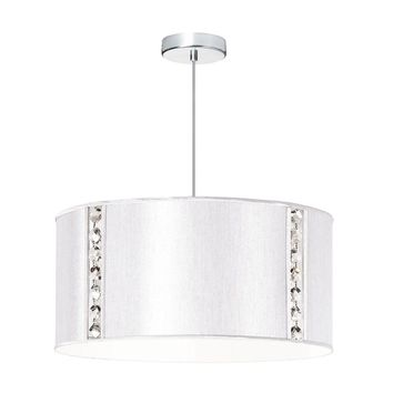 Dainolite 3 Light Elise Pendant with Crystal Accents,Polished Chrome, Pearl Silk Glow Drum Shade