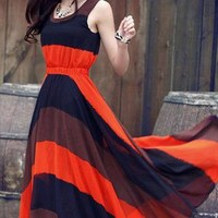 Wide Stripes Bohemia Maxi Dress from CherryW