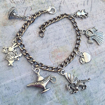 Simple Villains Charm Bracelet, Fairytale Villains Accessories, Once Upon A Time Jewelry, Fairytale Jewelry, Happy Never After Jewelry