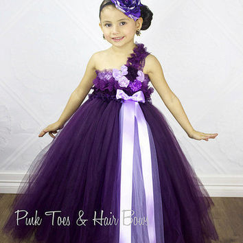 Plum Flower girl dress- Lace plum flower girl dress-Vintage inspired flower girl dress- Plum and Purple Couture Flower Girl Dress