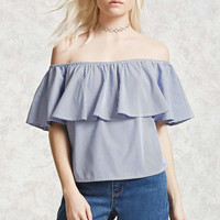 Pinstripe Off-the-Shoulder Top