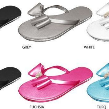 Girl's Thong Sandal with Bow & Rhinestones - CASE OF 36