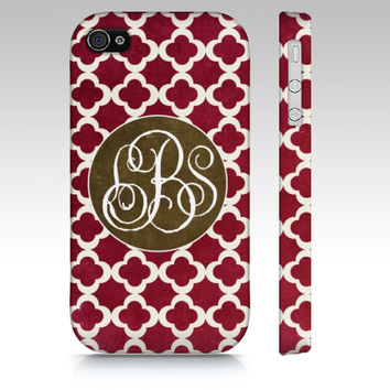 Monogram Clover - Iphone 4, 4s, 5 & Samsung Galaxy s3, S4 Case / cover - Chic, gift, Luxe, Pattern, red, jewel, tones, autumn, monogrammed