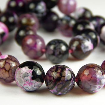 15 Inch Strand - 10mm Faceted Multicolor Agate Beads - Purple Pink - Gemstone Beads - Jewelry Supplies
