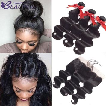 Beaudiva 13*4 Ear To Ear Lace Frontal Closure With Bundles Brazilian Body Wave Human Hair Bundles With Lace Closure