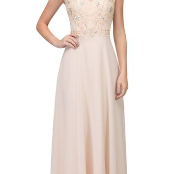 Champagne Cap Sleeved Beaded Long Formal Dress with Keyhole Back