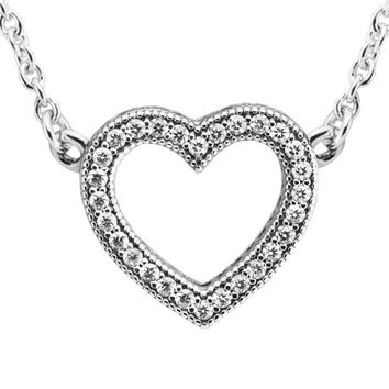 Fits European Jewelry CKK 925 Sterling Silver Necklaces for Women DIY Making Loving Hearts of Signature Silver Necklace FLN031