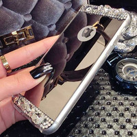 Bling Glitter Phone Cases Luxury Deluxe Clear TPU Frame + Rhinestone Mirror Case For Iphone 6 6S 4.7 Ultra Slim Soft Back Cover