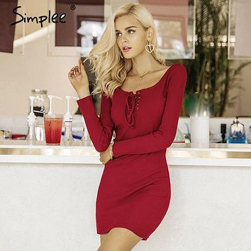 Simplee Elegant lace up women knitted dresses Long sleeve sexy elastic wine red sweater dress Casual bodycon dress vestidos 2017
