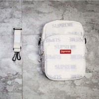 Supreme FW16 3M Reflective Repeat Shoulder Bag Black Box Logo Classic Backpack
