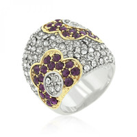 Purple And Clear Crystal Rose Ring
