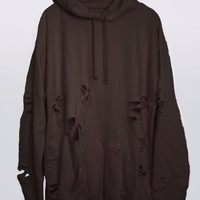 Hot Chocolate Hand Distressed Oversized Hoodie
