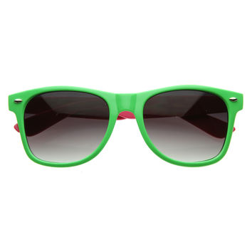 Party Beach Retro 80's Fashion 2 Tone Color Horned Rim Sunglasses 2790