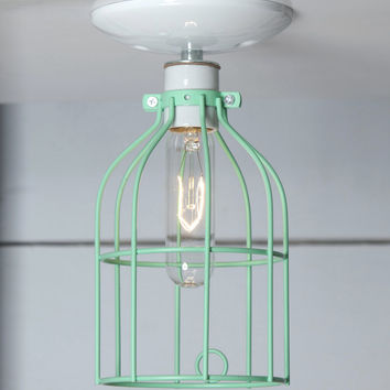 Industrial Lighting - Mint Green Cage Light - Ceiling Mount