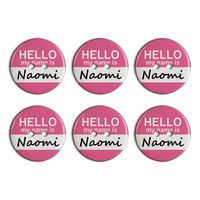 Naomi Hello My Name Is Plastic Resin Button Set of 6