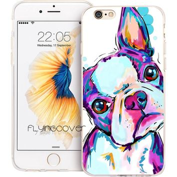 Fundas Boston Terrier Dog Clear Soft TPU Silicone Phone Cover for iPhone X 7 8 Plus Case for iPhone 5S 5 SE 6 6S Plus 4S 4 Case.