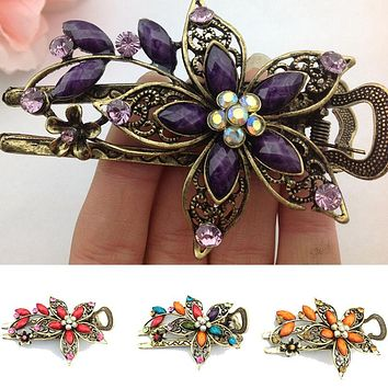 Fashion Charm Vintage Elegant Flower Hair Clip Crystal Hairpin Barrette Hair Accessories Gift acessorio para cabelo Hair Claws